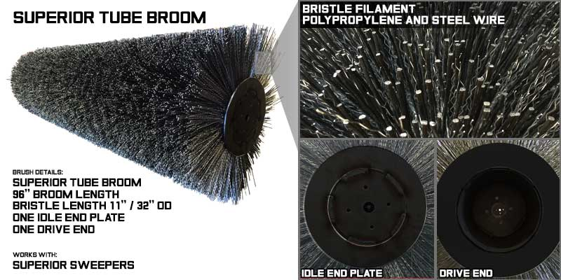 Main broom, main brush, tube brooms, tube broom