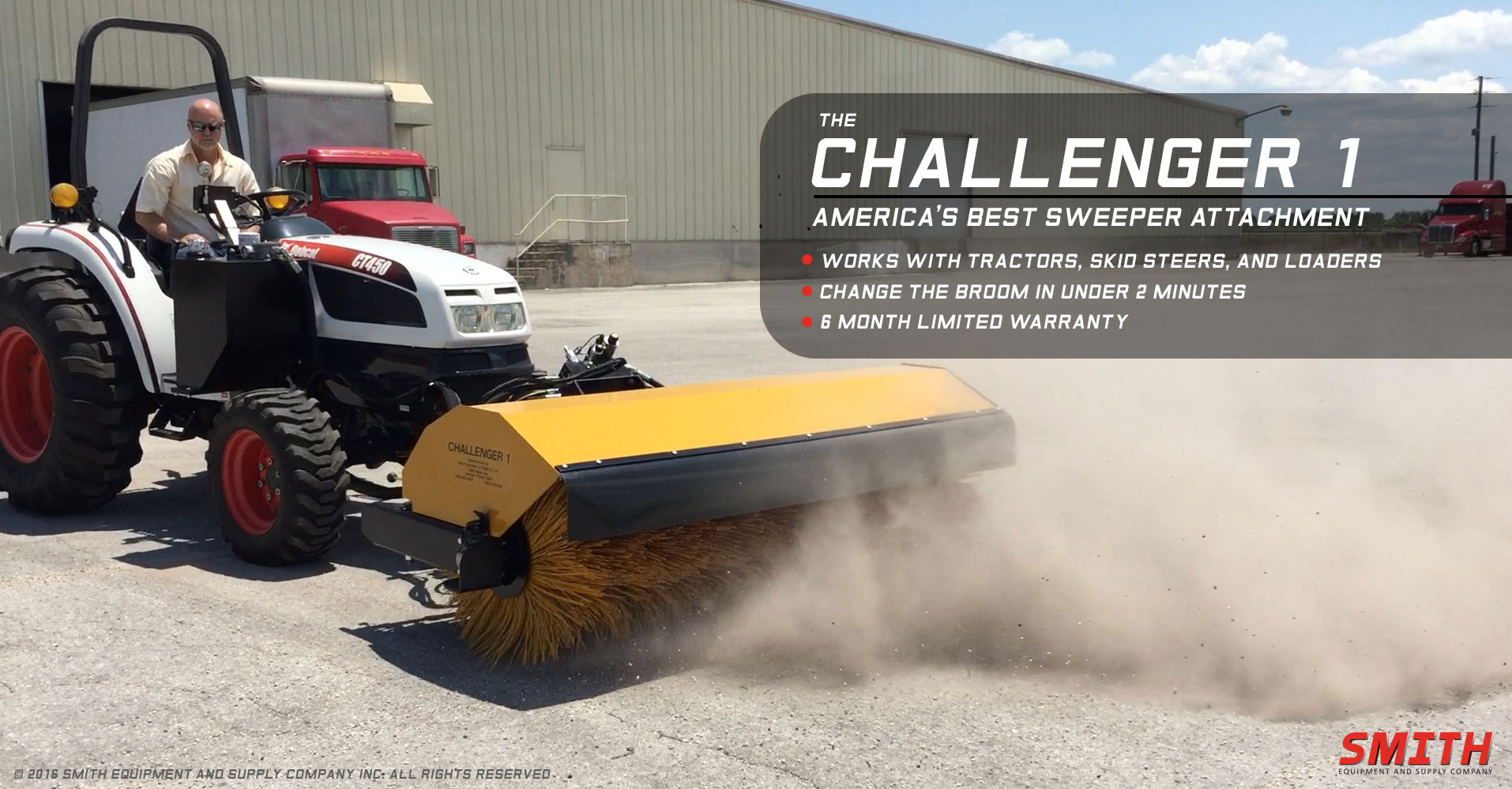 Challenger 1 Sweeper mounted on Bobcat Tractor